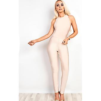 IKRUSH Womens Pearl Bandage Bodycon Jumpsuit