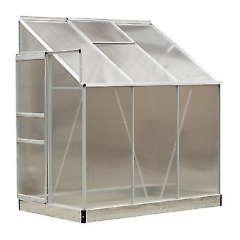 Outsunny 6 x 4FT Aluminum Lean to Garden Sun room Greenhouse Enclosure with Screen 190 x 131 x 215 cm
