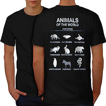 Animals Funy Cute Men BlackT-shirt Back | Wellcoda