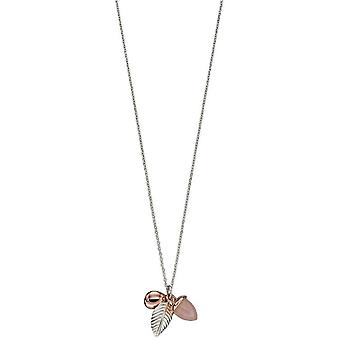 Elements Silver Acorn and Leaf Necklace - Silver/Rose Gold