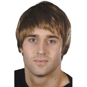 Krótki brązowy proste Wig, Wig facet, sprzedawca samochodów, Gameshow Host