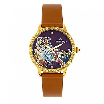 Empress Diana Automatic Engraved MOP Leather-Band Watch - Camel