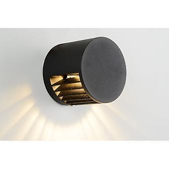 Lucide omfattning moderna runda aluminium svart vägg ljus