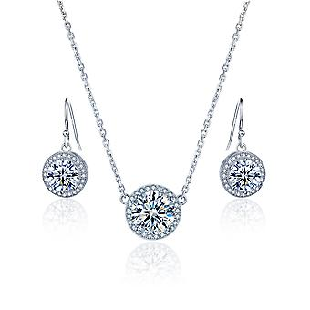 925 Sterling  Silver Round Halo Necklace With Matching Drop Earrings