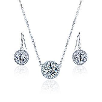 Стерлингового серебра 925 пробы круглый ореол ожерелье с соответствующими Серьги