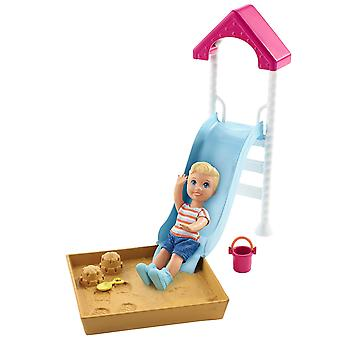 Barbie FXG96 Skipper Babysitters Inc Doll and Slide and Sandbox