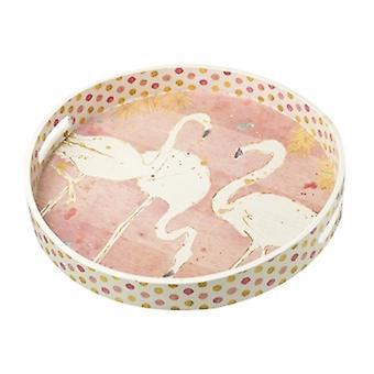 Heaven Sends Round Flamingo Tray