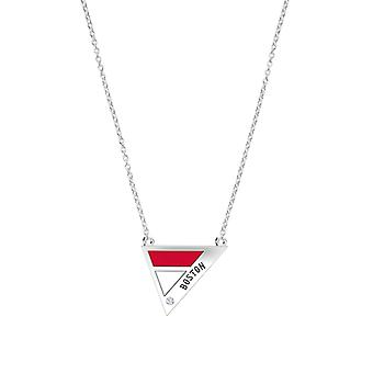 Boston Red Sox Engraved Sterling Silver Diamond Geometric Necklace In Red & White