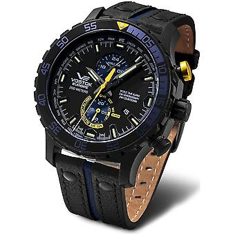 Vostok-Europe Men's Watch YM8J-597C547 Chronographs, Diver Watch Leather Bracelet