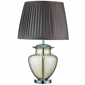 1 ljus bords lampa krom, Amber och glas med brun veckad nyans