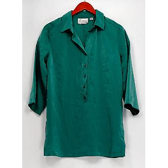 Linea by Louis Dell'Olio Top Faux Washed Silk Tunic Dark Green A251589
