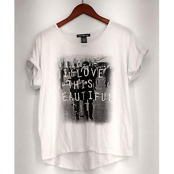 Kate & Mallory Top Graphic Tee w/ Roll Sleeves White A416936