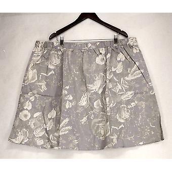 Isaac Mizrahi Live! Floral gedruckt Pull auf grauen Rock A201702