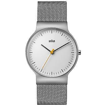 Braun classic slim Quartz Analog Man Watch with Stainless Steel Bracelet BN0211WHSLMHG