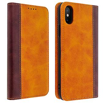 Apple iPhone X / XS Folio Case Storage Card Video Stand Camel