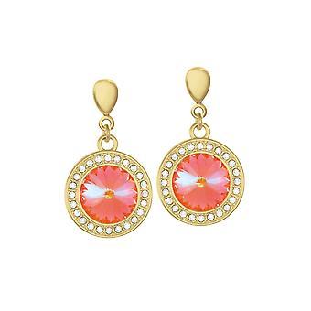 Eternal Collection Viva Ultra Orange Austrian Crystal Gold Tone Drop Pierced Earrings