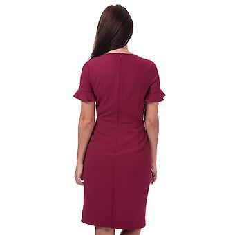 Womens French Connection Alianor Stretch V-Neck Frill Dress In Baked Cherry