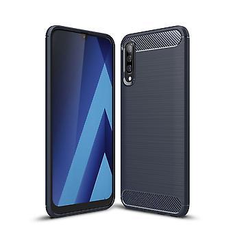 Samsung Galaxy A30s TPU Caso In fibra di carbonio ottica spazzolato custodia protettiva blu