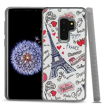 MYBAT Eiffel Tower Love Gel/Iron Gray Glitter Fusion Protector Cover  for Galaxy S9 Plus