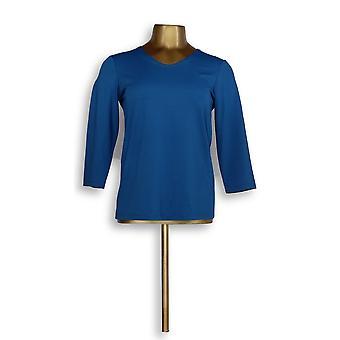 سوزان غرافر المرأة & s أعلى XXS أساسيات Butterknit 3/4 الأكمام الأزرق A214177