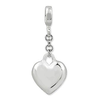 925 Sterling Silver Polished Love Heart 1/2inch Dangle Enhancer Charm Pendant Necklace Jewelry Gifts for Women