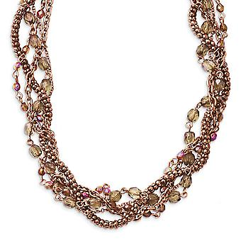 Fancy Lobster Closure Copper tone Multicolor Acrylic Beads 16inch With Ext Twisted Necklace Jewelry Gifts for Women