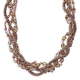 Fancy Hummer Verschluss Kupfer Ton Multicolor Acryl Perlen 16inch mit Ext Twisted Halskette Schmuck Geschenke für Frauen
