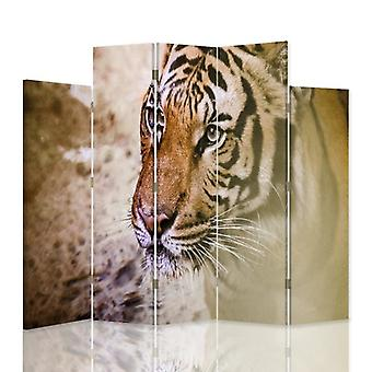 Diviseur de pièce décorative, 5 panneaux, double-sided, toile rotative de 360 , Tigre 2