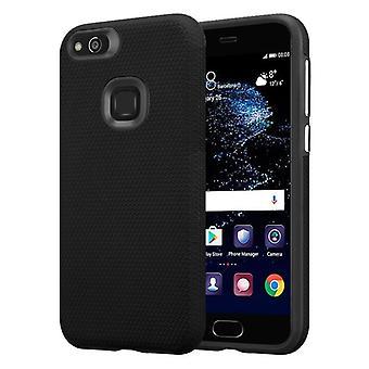 Futerał Cadorabo do obudowy Huawei P10 LITE - Obudowa na telefon zewnętrzny z dodatkową powierzchnią grip Anti slip w konstrukcji trójkąta wykonana z silikonu i tworzywa sztucznego - Futerał ochronny Hybrid Hardcase Back Case