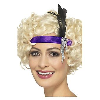 Womens roxo cetim de 1920 Charleston Headband vestido extravagante acessório