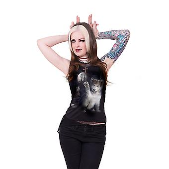 Spiral Direct Gothic WOLF PUPPY - 2in1 Neck Tie Mesh Top Black|Wolf|Cute|Moon|Forest