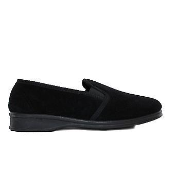 Mirak Shepton zwarte mens slip op volledige schoen slippers