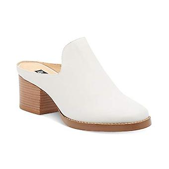 DKNY Womens Times Leather Stacked Heel Mules White 10 Medium (B,M)