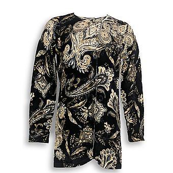Isaac Mizrahi Live! Vrouwen ' s trui Paisley ronde hals zwart A294434