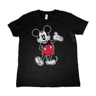 ミッキーマウスキッズTシャツ クラシックキックロゴ新しい公式年齢4-12歳