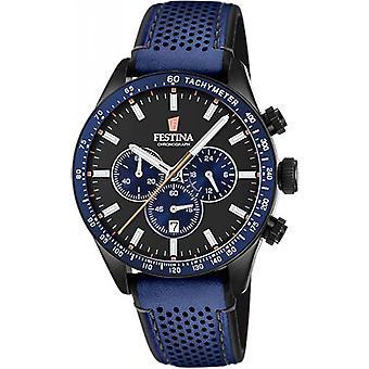 Originale F20359-2 Festina Uhren - Blue Man Blue Watch PVD schwarzes Zifferblatt schwarz Gurt Leder Zähler