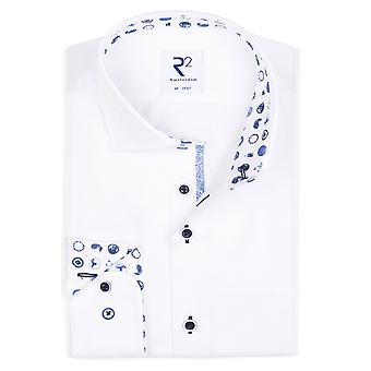R2 Hidden Button Down Collar Shirt White