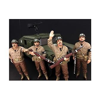 WWII Militärpolizei 4 Stück Figur Set für 1:18 Maßstab Modelle von Amerikanischen Diorama