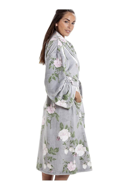 Camille Luxurious Grey Super Soft Fleece Light Pink Rose Print Bathrobe