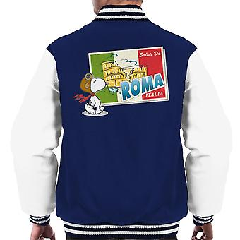 Peanuts Snoopy In Roma Italy Men's Varsity Jacket