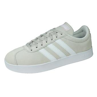adidas VL Court 2.0 Womens Suede Trainers / Shoes - Chalk