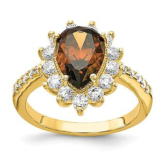 Cheryl M 925 Sterling Argent et 14k Gold Plated Brown Brilliant cut CZ Cubic Zirconia Simulated Diamond Ring Jewelry Gi