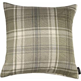 Mcalister textiles angus tartan check natural grey cushion