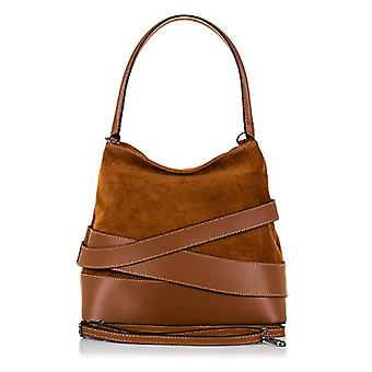 FIRENZE ARTEGIANI. Real leather woman bag. Authentic leather bag Ruga and suede. Exclusive design leather rings. MADE IN ITALY. REAL ITALIAN SKIN. 30 x 28 x 16 cm. Color: Leather