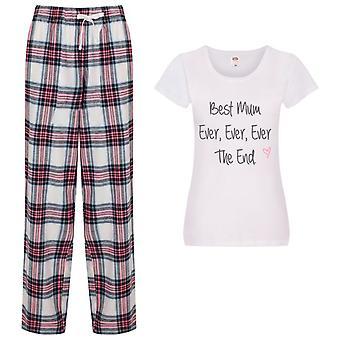 Best Mum Ever Ever Ever the End Tartan Trouser Pyjamas