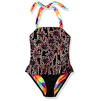 Angel Beach Big Girls' One Piece Swimsuit with Twin Print, Black, Black, Size 16