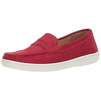Driver Club USA Unisex Genuine Leather Casual Comfort Slip On Moccasin Penny Loafer Driving Style, red nubuck 3 M US Little Kid