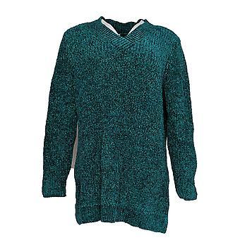 Denim & Co. Women's Sweater Chenille V-Neck Long-Sleeve Tunic Green A373184