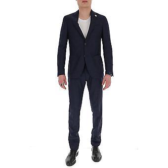 Lardini Ei449aeeic544071 Men's Blue Cotton Suit