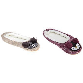 Slumberzzz Womens/Ladies Animal Earmuff Ballerina Slippers